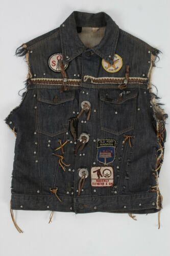 Vintage 70s MC Motorcycle Club Vest Jacket Denim Roebucks Chain Slave Patches
