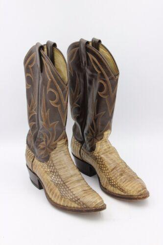 Dan, Post, Mens, Leather, Snake, Skin, 2, Tone, Brown, Tan, Cowboy, Boots, Size, 7, 1/2, D