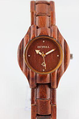 BEWELL Holzuhr Damenuhr Rotes Sandelholz 36mm A-Ware Armbanduhr Neu Top Geschenk