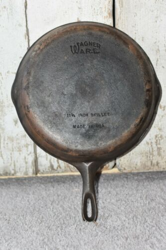 "Antique WAGNER #10 X Cast Iron 11-3/4"" Frying Pan Skillet w Double Pouring Spout"