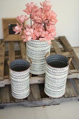 Kalalou Pressed Tin Bucket with wooden Handles CVY1009
