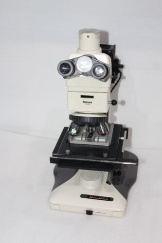 Nikon Optiphot-100 Microscope & Objective Cf Plan 5x, 10x, 20x,cfwn10x/20 Tested