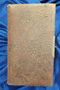 Antique-Photo-Album-Leather-32-Pictures-Tintypes-CDV-Late-1800s