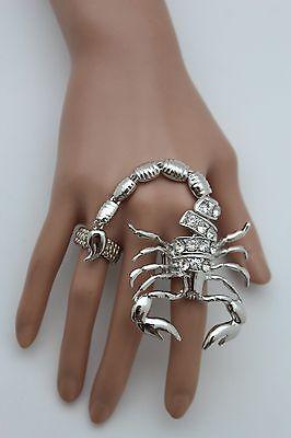 Women Silver Ring Two Finger Metal Elastic Band Jewelry Big Scorpion Rhinestones