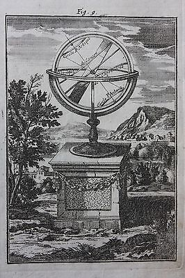 Original antique print, ARMILLARY SPHERE, Alain Manesson Mallet, 1719