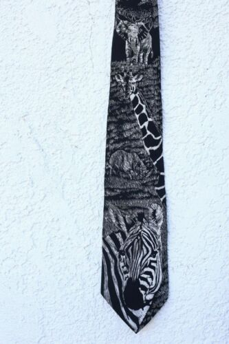 SILK NECK TIE World Wildlife Fund 1991 black white zebra giraffe elephant USA