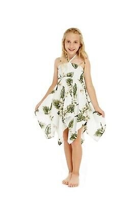 Girl Gypsy Uneven Bottom Dress in Palm Green White - Bohemian Girl Dresses