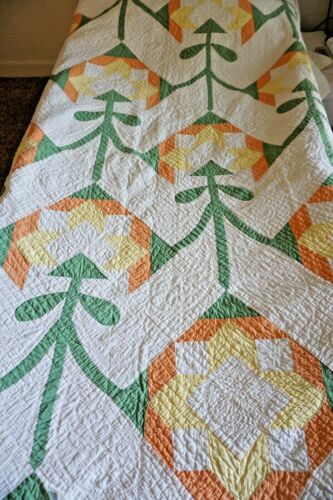 """19th / 20th Century Yellow Green Orange White Floral Quilt 84 x 72"""""""