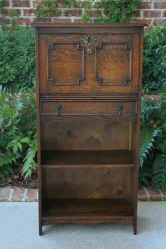 Antique English Oak Larkin Desk Fall Front Secretary Bookcase Bureau Jacobean