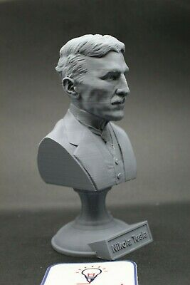 Nikola Tesla 5 inch Famous Inventor 3D Printed Bust Art FREE SHIPPING