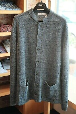 Inis Meain Knit Linen Button Sweater Gray Blue Large New with Tags