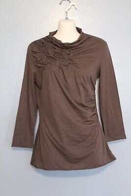 C Keer Anthropologie Brown Finessed Ruched Turtleneck Top Small