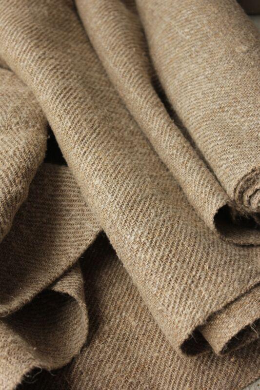 Fabric Antique Flax hemp homespun Organic twill HEAVY 4.1 yards X 28 WIDE DARK