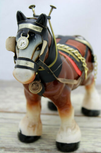 """Vintage Ceramic Horse Clydesdale Figurine 7 1/2"""" Tall Hand Painted Handsome!"""