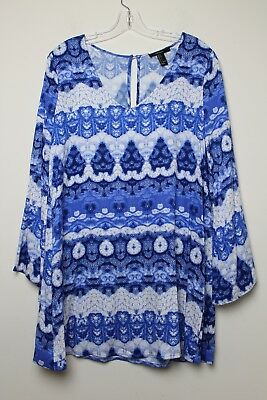 (S Forever 21 Tunic Dress Blue Long Sleeves size Small)