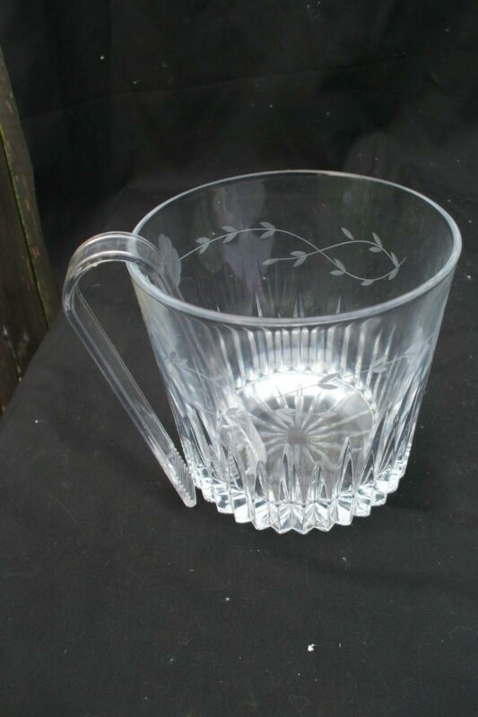 Ice Bucket Etched Glass Tongs Vintage B9
