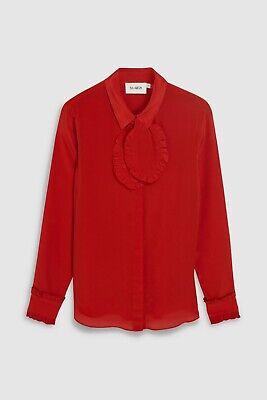 BNWT ISA ARFEN RED PURE SILK RUFFLE NECK SHIRT BLOUSE SIZE UK 16 RRP £110