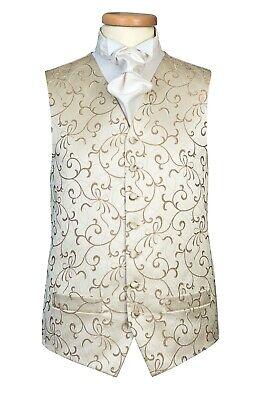 Gold Mocha Coffee Brown Swirl Dakota Waistcoat Vest (A26) [ALL SIZES] Coffee Brown Swirl
