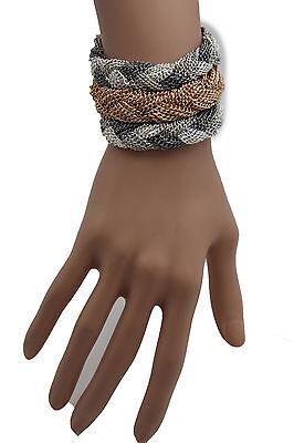 New Women Gold Silver Braided Metal Chain Bracelet Fashion Jewelry 3 Tone Rows