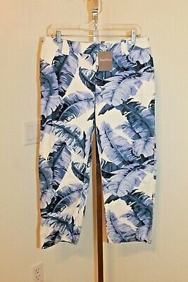 NWT Tommy Bahama Frond Print Cotton Ellery Fit Pant sz 10 Sail Away Blue White