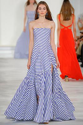 RALPH LAUREN COLLECTION Blue White Stripe Ruffle Bustier Dress Gown 0