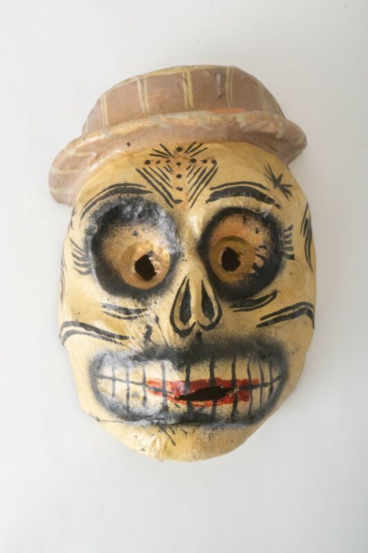 Mexican Vintage Ritual Ceremonial Day of the Dead Skull Dance Mask Wall Art