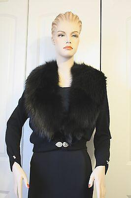 Pin Up 50's Black Vintage Cashmere Sweater Fox Collar Ex. Cond. B. Altmann S-M