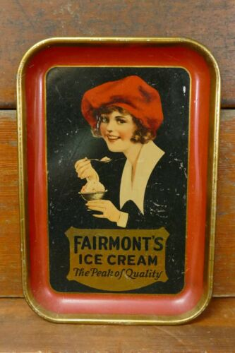 """Vintage FAIRMONT ICE CREAM """"The Peak Of Quality"""" Metal Serving Tray Pretty Woman"""