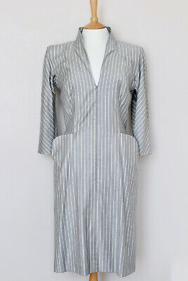 ALEXANDER MCQUEEN 2008 grey wool stretch striped zip dress UK12 US8 IT44 FR40