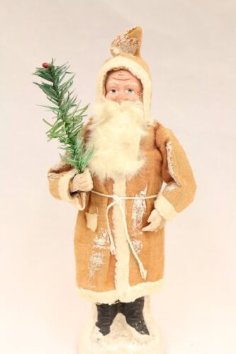 German Saint Nickolas 1928 Candy Holder Vintage Santa Claus w/ feather tree
