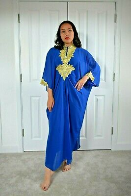 Arabian kaftan Abaya royal blue gold lace maxi dress one size S to XXXL