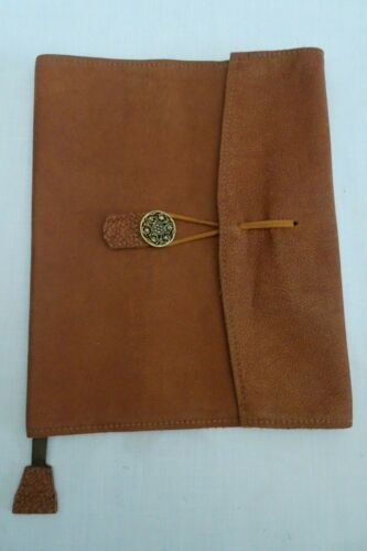 """Leather Bible Slip On Book Cover Jacket w Pen Holder Brown 7.5"""" x 9"""""""