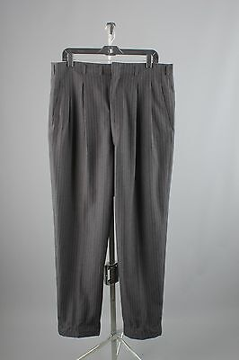Vtg 1950s Men's Wool Drop Loop Dress Pants sz L 38x33 50s Slacks #2310