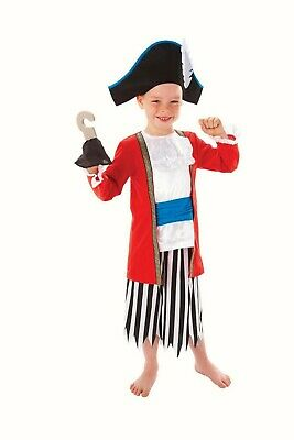 Boys Captain Pirate fancy dress costume Outfit World book day red Pirate Ship