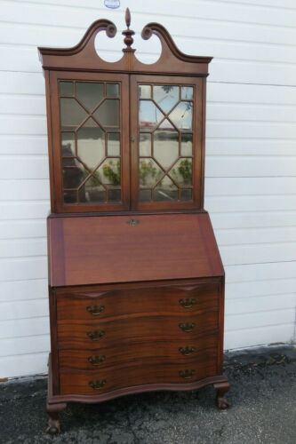 Mahogany Tall Large Two Part Secretary Desk Cabinet Cupboard 1147