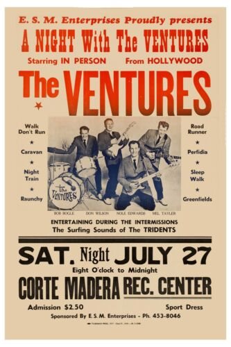 Surf: The VENTURES at Hollywood Rare Concert Poster 1963  Wide Format 24x36
