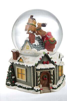 Palla di Vetro con Carillon e Neve Natalizia Babbo Natale Renne con Musica 16 cm