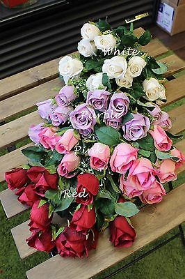 Sweet Home Deco 18'' Silk Rose Bud Artificial Flower Bush (12 Stems/12 Flowers)  ()