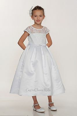 New Girls White Dress Wedding First Holy Communion Elegant Easter Flower 2008 - First Holy Communion Dress
