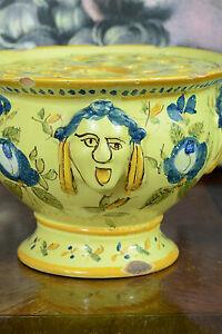 et ancienne faience martres montpellier pique fleurs jaune grotesque ebay