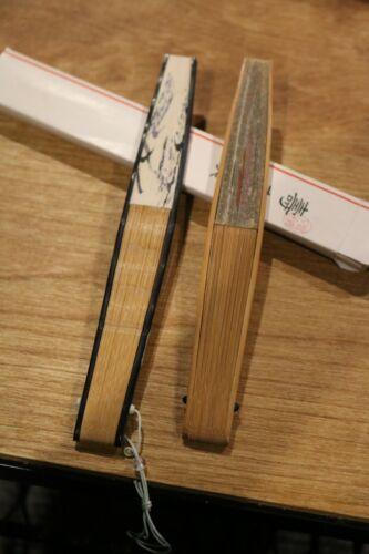 2 Vintage Japanese Sandalwood and Paper Fans