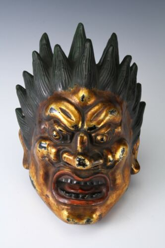 Old Vintage Plaster Buddhism Mask Plaque -Basara- Showa Product