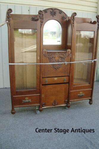 60758   Oak Victorian Side By Side Desk with Bookcase Sides
