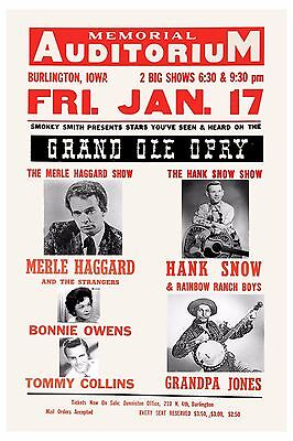 Grand Ole Opry: Merle Haggard & Hank Snow & More Concert Poster