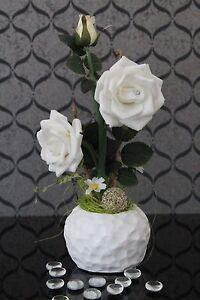 LED Rose Blumentopf Strauß Blume Gesteck leuchtend Pflanze Deko Kunstblume 33cm