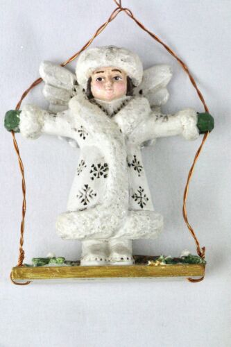 P Schifferl White Glitter Angel on Swing Christmas Ornament