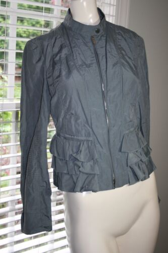$695 ARMANI COLLEZIONI Gray Cotton Blend Waterproof Ruffle Detail Jacket Sz 4