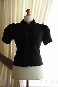 Ladies Black Ruffle Puffed Sleeve Shirt Blouse Governess Victorian Goth 12 14 BN