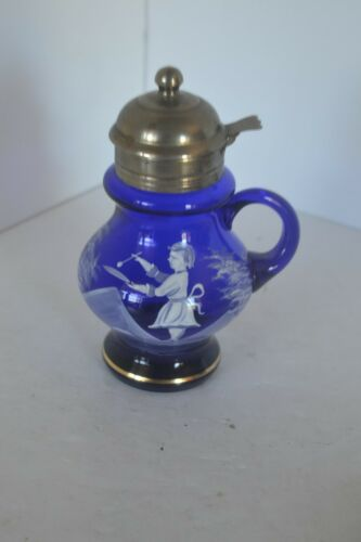 Vintage Syrup Dispenser Pitcher Glass Mary Gregory Cobalt Blue Box1