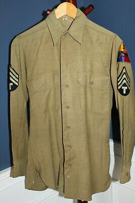 Original WW2 U.S. Army 3rd Armored Division GI's Patched OD Wool Uniform Shirt